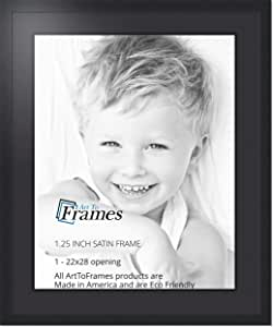 Art to Frames 双-多衬垫-662-89/89-FRBW26079 拼贴照片框双衬垫带 1-22x28 的开口和缎面黑框