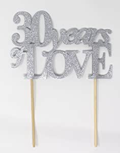 All About Details 30 Years of Love Cake Topper, 1 件,30 周年纪念,30 岁生日 银色 CAT10YL