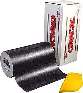 ORACAL 光泽金属黑色工艺乙烯基 30.48 厘米 x 15.24 厘米卷 包括硬黄色刮板