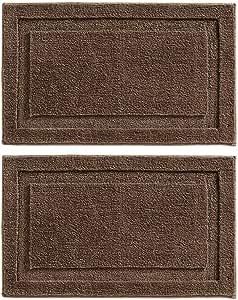 mDesign 柔软超细纤维涤纶防滑矩形 Spa 垫,毛绒吸水装饰地毯,适用于浴室梳妆台、浴缸/淋浴 - 可机洗,86.36 厘米 x 53.34 厘米 深棕色 2片装 07379MDBST