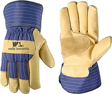 Wells Lamont 工作手套,带 Palomino 粒面猪皮,皮革手掌,Pf100 热填料 大 5235L