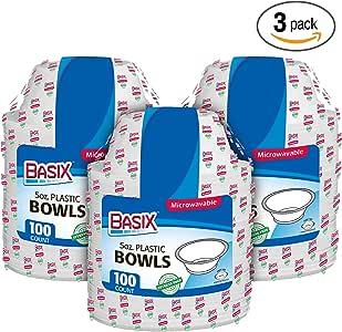 Basix 100 只一次性塑料碗可微波加热,5盎司,白色 BXB5-100