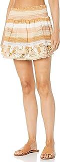 Ramy Brook 女士 Madina 条纹荷叶边罩衫裙