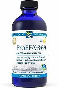 Nordic Naturals ProEFA 奥米茄-3 6 9 液体 鱼油和琉璃苣油 610 毫克 EPA 405 毫克 DHA 170 毫克 GLA 400 毫克油酸 用于心脏和大脑健康的均衡奥米茄补充剂 柠檬味 8 盎司(约 237 毫升)