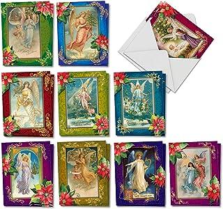 The Best Card Company 圣诞天使 - 20 个组合盒装季贺卡带信封(10.16 x 13.97 cm) - 复古的传统 传达者 AM1747SGG-B2x10