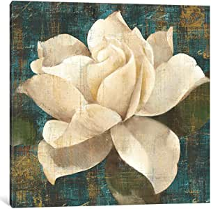 iCanvasART WAC7 Gardenia Blossom Turquoise Canvas Print by Albena Hristova, 12 by 12-Inch, 0.75-Inch Deep
