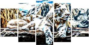 """数字艺术 PT2426-373""""白虎""""动物墙艺术印花,L 码 60x32"""" - 5 Panels Diamond Shape PT2426-373"""