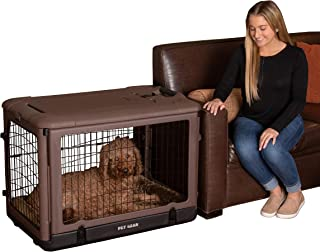 Pet Gear The Other Door Steel Crate with Plush Bolster Bed for cats and dogs 巧克力 36-Inch