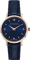 Larsson & Jennings Lugano 女式石英手表,模拟经典展示和皮革表带