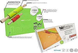 Rollin' Amigos 硅胶烘焙垫、滚针、饼干模具、Empanada Maker、Ravioli 模具、烘焙垫、哑铃制作器、Pierogi Maker、Samosa Maker。 绿色