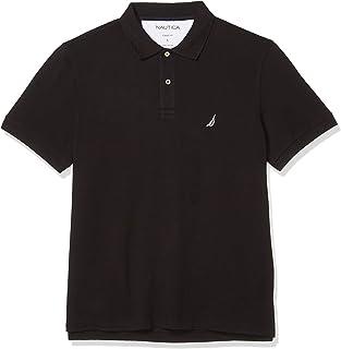 Nautica 男式短袖纯色棉质珠地布 POLO 衫