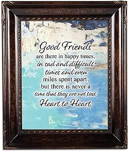 Cottage Garden Good Friends Heart to Heart 8 x 10 桌面和墙壁相框 Burlwood Rope Trim SH8X1017AM