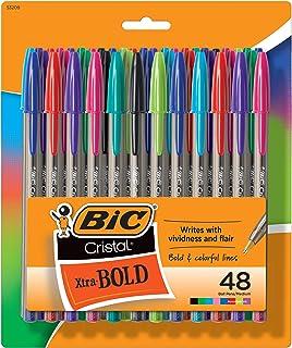 BIC Cristal Xtra Bold 时尚可伸缩圆珠笔,48 支装,新颜色分类,中号笔尖 1.6 毫米彩色笔,适合成人和儿童的学校用品(MSBAPP48-A-AST)