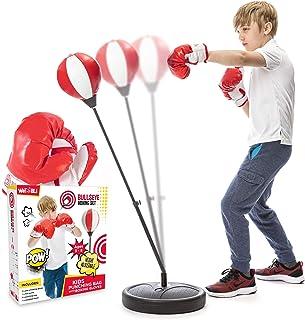 Whoobli 儿童拳击袋,包括拳击手套   3-8 岁可调节儿童吊带支架   拳击袋套装男孩和女孩玩具