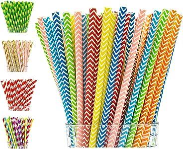 Paper Straws Party Girl Kim 可生物降解纸管 - 200 盒   彩色一次性吸管   派对吸管   添加乐趣,做出不同环保可生物降解吸管 Rainbow Chevron