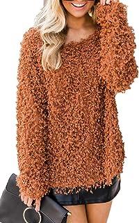 Allimy 女式宽松针织上衣独特樱桃形状毛绒爆米花毛衣套头毛衣