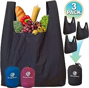 可重复使用的杂货袋套装,大型可折叠生态袋手提袋,用于制作购物,折叠成紧凑袋。 重型耐用降落伞尼龙。 环保,轻盈,可水洗。 黑色 3 Pack