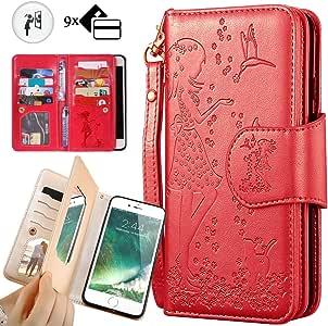 iphone 7 钱包手机壳,iphone 8 钱包手机壳,Auker 三折翻盖皮革钱包手机壳带 9 个卡夹和现金袋磁扣全包手机套适用于 iPhone 7/8 红色