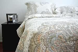 Tache 3 件 * 纯棉法国金色花园床单套装 Beige, Brown, Tan, Multi, Neutral 两个 並行輸入品