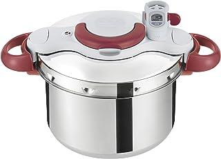 Tefal Tafal Clipso Minut Perfect - 不锈钢高压锅,配有 5 个*系统,轻松闭合,红色 7.5 升多色