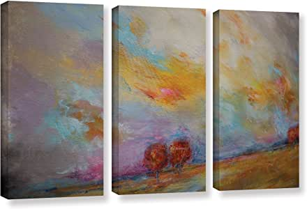 """ArtWall 3 Piece Jolina Anthony's Abstract Sunset Gallery Wrapped Canvas Set, 36""""x 54"""""""