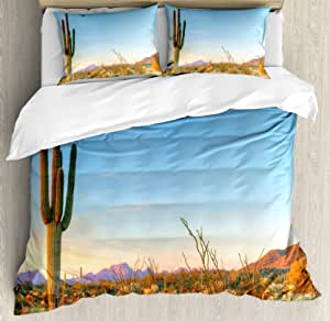 Ambesonne Nature 羽绒被套套装,蓬松云朵天际线象大理石图案大理石图案和复古特色艺术图像印花、装饰床上用品套装带枕套,蓝绿色