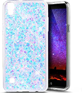 LG Tribute HD 手机壳,LG X 风格手机壳,LG Volt 3 手机壳,LG L53B/L56VL 手机壳,PHEZEN 闪亮六边形星柔韧橡胶凝胶透明 TPU 手机壳硅胶后壳(红色) Hexagonal Star: Blue & Pink PHEZEN04785