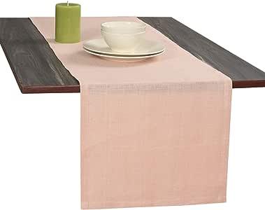 Eloine Linen-* 纯亚麻晚餐桌巾和餐巾 桃红色 Table Runner-14 X 72 Inch