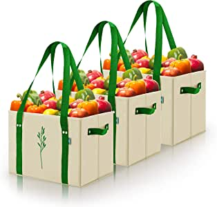 """重型可折叠和可重复使用的购物箱袋,带折叠加固底部 天然 10""""W x 10.5""""H x 14.5""""L"""