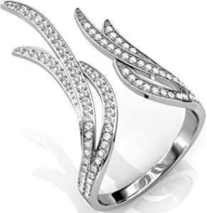 女士镀金戒指 - 优雅透明水晶细节- 开式时尚首饰适合女孩、青少年、女士,Matashi 出品 白金色
