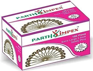 PARTH IMPEX 100 超大坚固*别针 2 英寸/50 毫米 镍抛光 Steel Safety Pins - 100 Pimpex-Joint Pins
