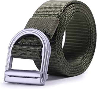 "AXBXCX 男式战术腰带 3.81 厘米尼龙军旅风格休闲军户外战术织带金属扣腰带 XL - Fits Waist: 46""-50"", Belt Width: 1.5"" * Belt-A1-3.8-Green-XL"
