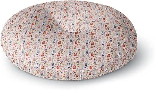 "KESS InHouse Holly Helgeson""小姐红""粉色图案圆形地板枕,58.42 cm x 58.42 cm 多种颜色 26"" x 26"" HH1013ARF02"