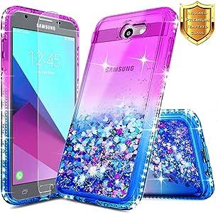 三星 Galaxy J3 Emerge 手机壳,Galaxy J3 Eclipse 手机壳,Galaxy J3 Prime 手机壳带【钢化玻璃屏幕保护膜】NageBee Quicksand 液体浮动闪耀透明手机壳J32017DDDZLSZL4 Gradient Purple/Blue
