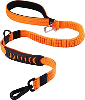 Pettom 松紧带狗绳 带汽车*带 *扣 可调节 无冲击 弹力 反光宠物绳 适用于中大型犬(L,橙色)