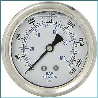 LIQUID FILLED 压力气体,6.35 厘米表盘,不锈钢表壳,黄铜连接,0.64 厘米磁环 NPT 后挂件连接,双伸缩 PSI 和杆 0-1,500 PSI