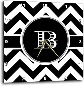 3dRose black and White Chevron Monogram Initial B - Wall Clock, 13 by 13-Inch (dpp_222064_2)