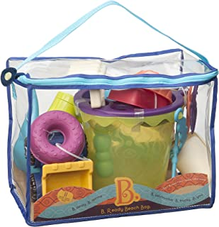 B. 玩具 - B. Ready Beach Bag - 沙滩手提袋,带网面板和 11 款时髦沙子玩具 - 不含邻苯二甲酸盐和 BPA - 18 m+