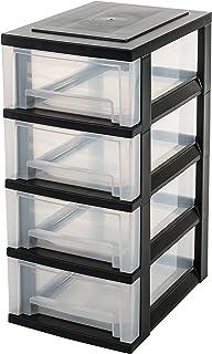 Iris Ohyama Europe SDC-004 塑料 4 个储物抽屉收纳盒,黑色