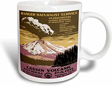3drose BLN vintage WPA 海报系列–lassen volcanic 国家公园与 erupting 火山 WPA 海报–马克杯 白色 11 oz