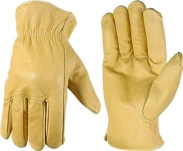 Wells Lamont 带谷物猪皮的工作手套,Keystone Thumb,皮套 中 棕色 1133M