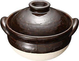 长谷制陶 (Nagatani Seitou) 陶锅 茶色 800ml 长谷园 伊贺土锅 美国釉 杂炊锅(1-2人用) NNM-34