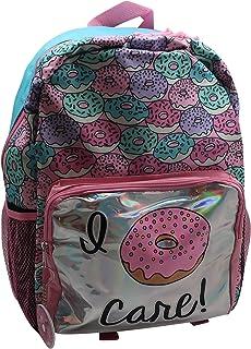 Forest & 12th Kids 'I Donut Care' 背包 – 可爱的书包带钥匙扣和全息前袋 – 轻盈、耐用且易于清洁的儿童书包