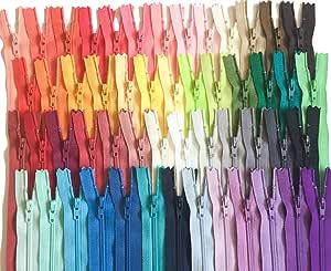 各种颜色 YKK 拉链数字 3 尼龙线圈套装 110 件 6 inch