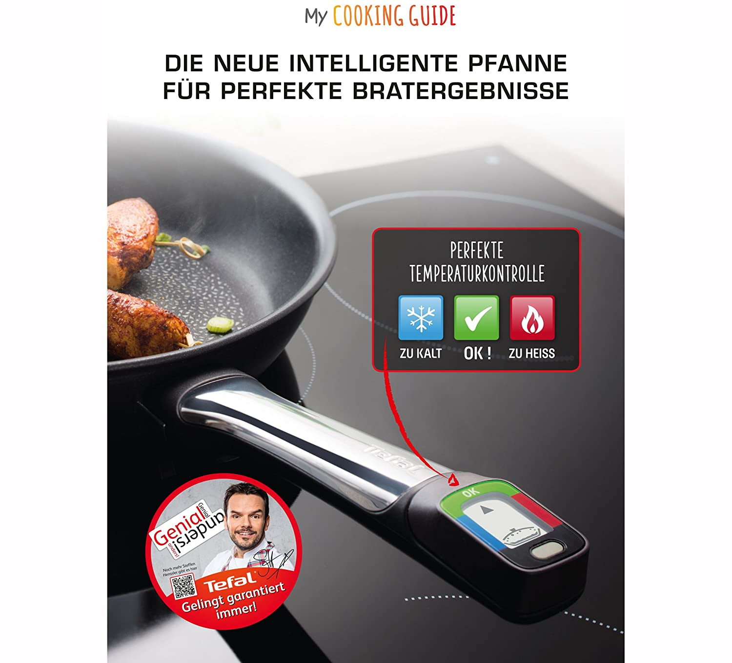 Tefal E55106 My Cooking Guide Pan 28 cm Suitable for Induction Cookers with Module for Temperature Monitoring