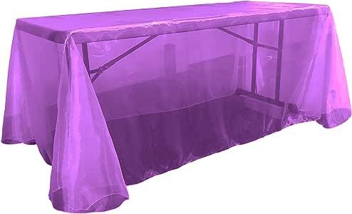 """LA Linen 透明硬纱矩形桌布 紫色 90 by 156"""" TCOrgz90X156_Purple230"""