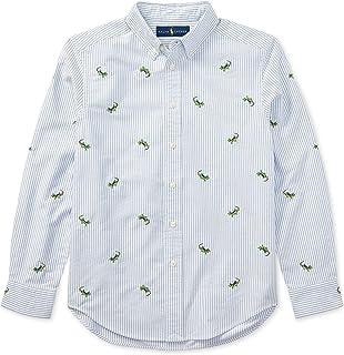 RALPH LAUREN Polo 男孩刺绣条纹牛津长袖衬衫