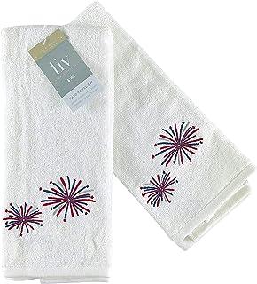 VCNY 爱国白色手巾:奢华柔软吸水毛巾布刺绣红白蓝烟花,40.64 厘米 x 71.12 厘米,2 件