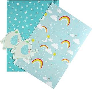 Hallmark 礼品纸和礼品吊坠,两件装带蓝色大象设计