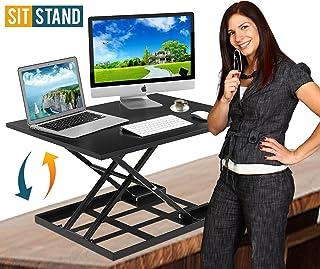 高度可调节站立办公桌转换器人体工程学 SIT stand 黑色 riser 大上衣尺码 cm 气弹簧 workstation 抗* UP & Down 定位双显示器电脑办公
